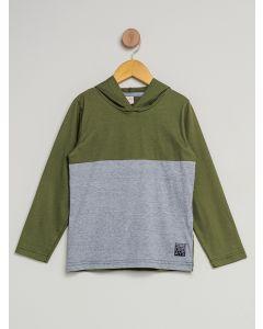 Camiseta Infantil Com Capuz - Verde