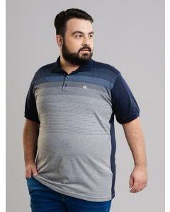 Polo Masculina Plus Size - Azul