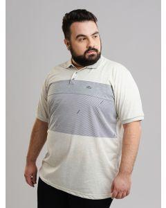Polo Masculina Plus Size Recorte - Cinza