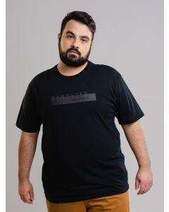 Camiseta Masculina GANGSTER Plus Size All Black - Preto