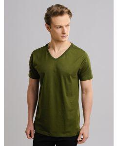 Camiseta Masculina Básica Gola V - Verde