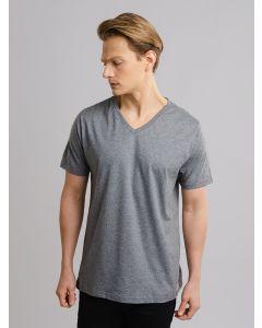 Camiseta Masculina Básica Gola V - Cinza