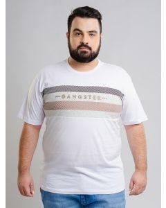 Camiseta Masculina GANGSTER Plus Size - Branco