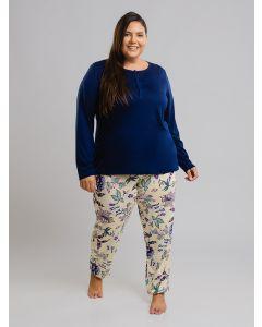 Pijama Floral Plus Size - Azul
