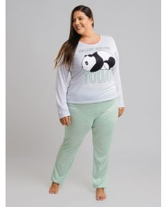 Pijama Feminino Panda Plus Size - Verde