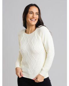 Blusa Feminina Tricot com Pérolas - Branco