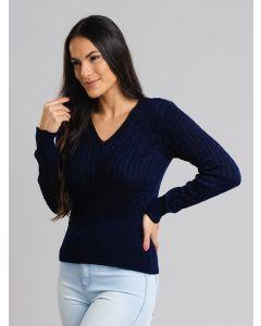Suéter Feminino Decote V - Azul