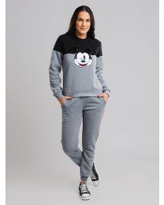 Calça Feminina Jogger de Moletom Mickey - Cinza