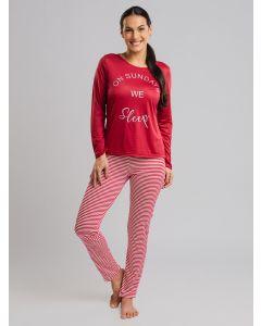 Pijama Feminino On Sundays We Sleep - Vermelho