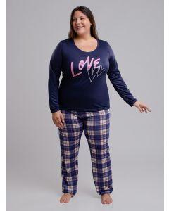 Pijama Feminino Plus Size Love - Azul