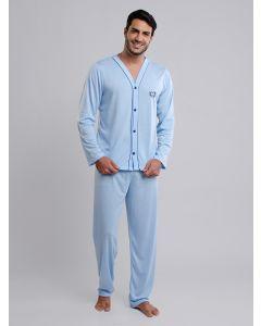 Pijama Masculino Manga Longa com Botões - Azul