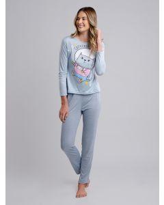 Pijama Feminino Manga Longa Darone - Azul
