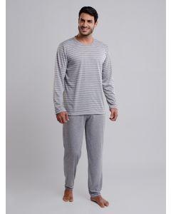 Pijama Masculino Listrado Manga Longa - Cinza