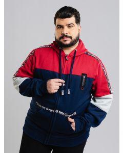 Jaqueta de Moletom Gangster Masculina Plus Size - Vermelho