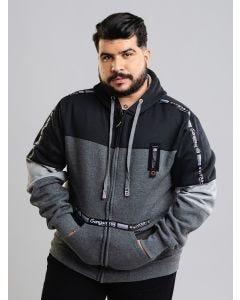 Jaqueta de Moletom Gangster Masculina Plus Size - Cinza
