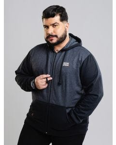 Jaqueta de Moletom Gangster Masculina Plus Size - Preto