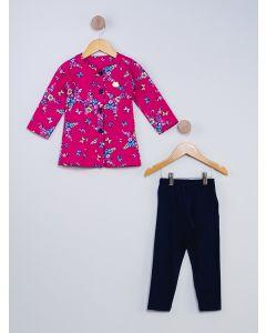 Conjunto Infantil Floral - Rosa