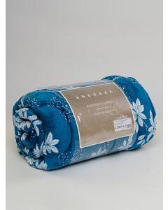 Edredom Queen Flanela Estampado Floral 2,20X2,40 Andreza - Azul