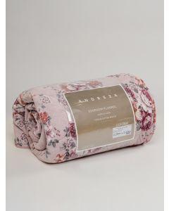 Edredom Queen Flanela Estampado Floral 2,20X2,40 Andreza - Rosa