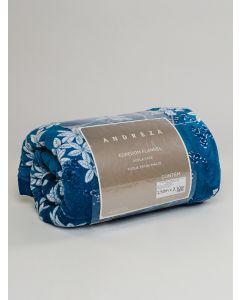 Edredom Solteiro Flanela Estampado 1,50x2,10 Andreza - Azul