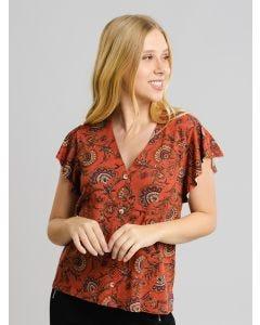 Blusa Feminina Estampada com Botões - Marrom