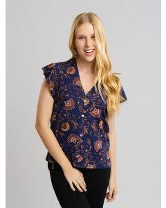 Blusa Feminina Estampada com Botões - Azul