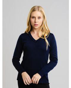 Suéter Feminino Decote V - Azul Marinho