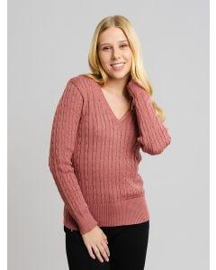 Suéter Feminino Gola V - Rosa