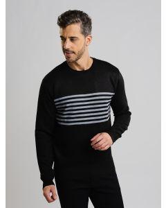 Suéter Masculino Tricot Listrado - Preto