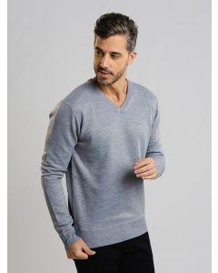 Suéter Masculino Tricot Gola V - Cinza