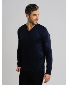 Suéter Masculino Tricot Gola V - Azul Marinho