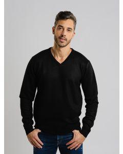 Suéter Masculino Tricot Gola V - Preto