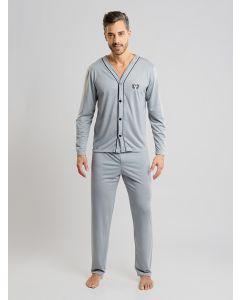 Pijama Masculino Manga Longa com Botões - Cinza