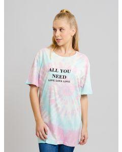 Camiseta Feminina Love Tie Dye - Azul