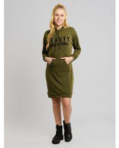 Vestido Moletom com Capuz - Verde