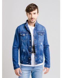 Jaqueta Masculina Jeans Puídos - Azul