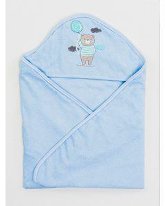 Toalha de Banho Infantil Plush com Puff - Azul