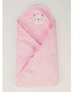 Toalha de Banho Infantil Plush com Puff - Rosa