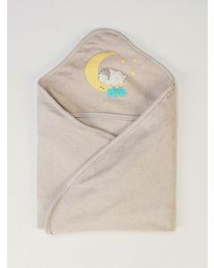 Toalha de Banho Infantil Plush com Puff - Cinza