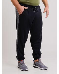 Calça Masculina Plus Size Moletom com Recortes - Preto
