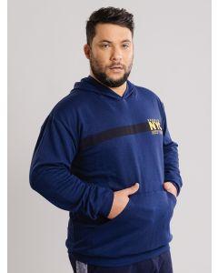 Blusa Masculina Plus Size de Moletom NYC - Azul