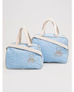 Kit de Bolsa e Frasqueira Urso - Azul