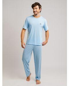 Pijama Masculino Malha Manga Curta - Azul
