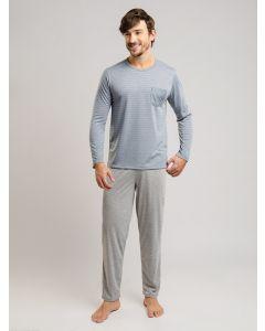 Pijama Masculino Manga Longa - Cinza