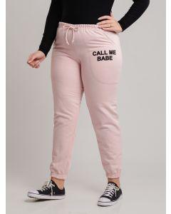 Calça Feminina Moletom Call Me Babe Plus Size - Rosa