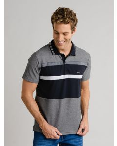 Blusa Polo Masculina Listrada - Cinza