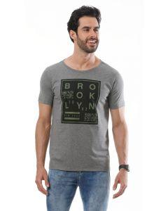 Camiseta Masculina Estampa Basic Soul - Cinza