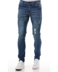 Calça Masculina Jeans Slim Puídos Zoato  - Azul
