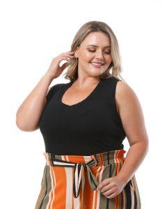 Blusa Feminina Plus Size Lecimar Detalhe Renda