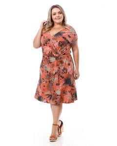 Vestido Feminino Plus Size Elian Envelope - Laranja